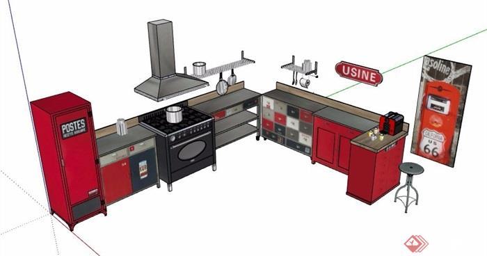 现代风格红色系厨房橱柜设计su模型