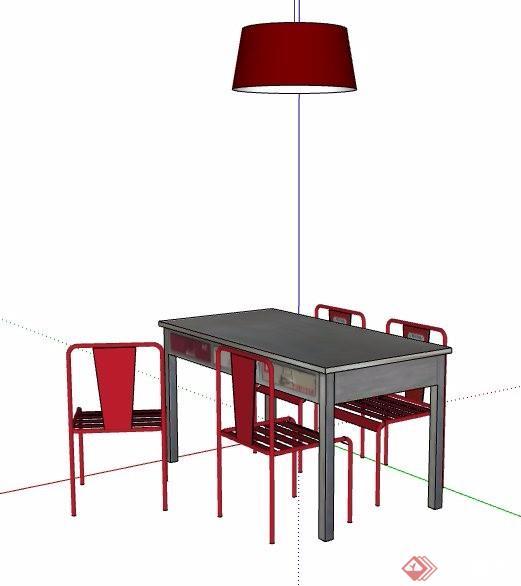 四人座餐桌椅及吊灯设计su模型