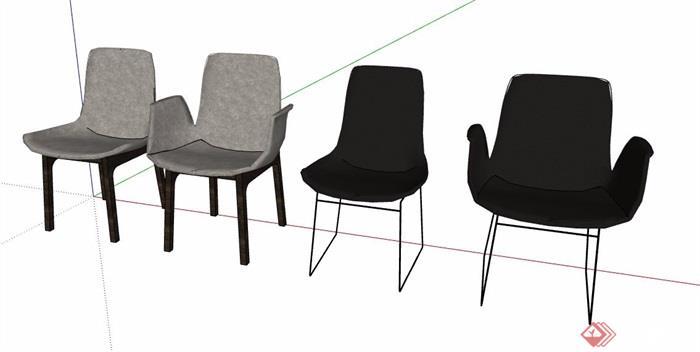 四款简约风座椅素材su模型