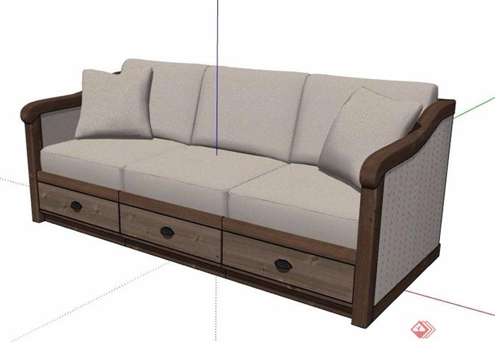 现代新中式三人座沙发素材su模型