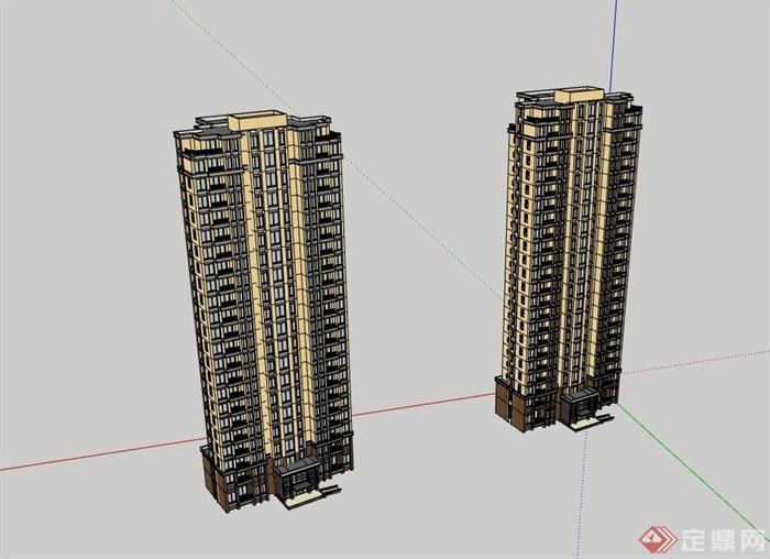 现代高层详细居住建筑楼su模型