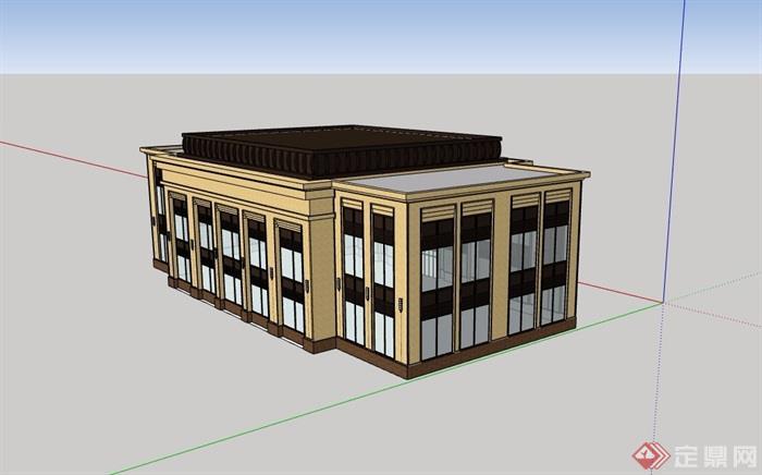新古典风格两层售楼部建筑su模型