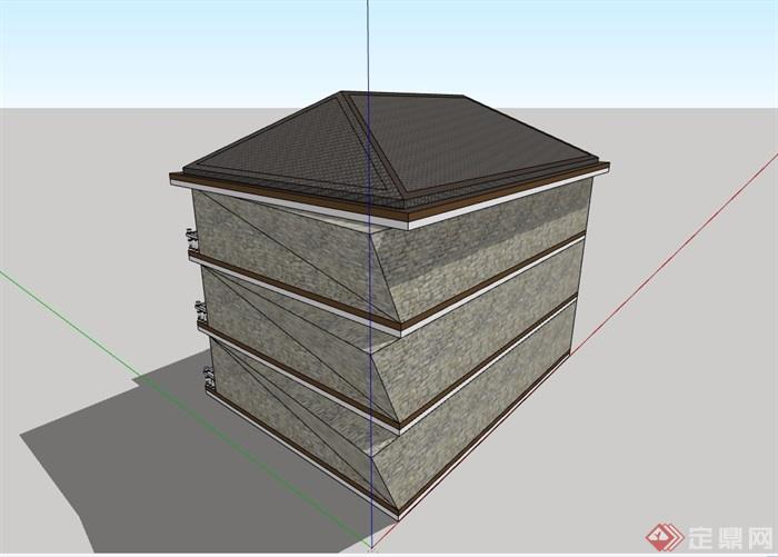 三层欧式风格农村自建房设计su模型