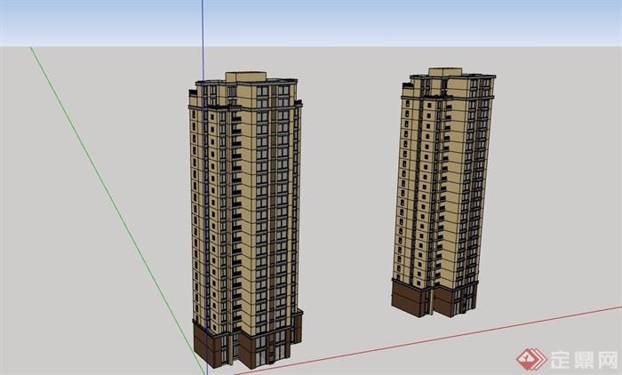 现代两栋详细高层住宅楼设计su模型