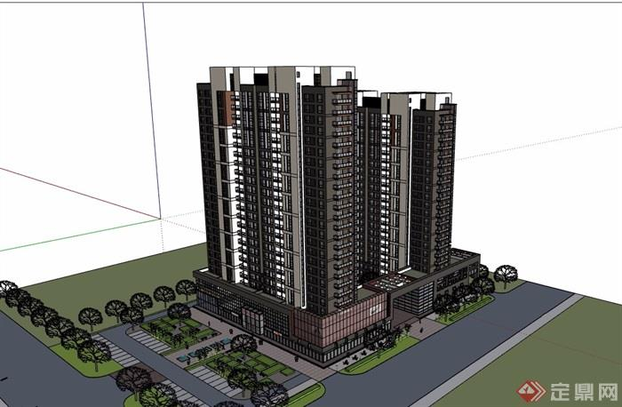一组现代高层住宅+商业建筑su模型