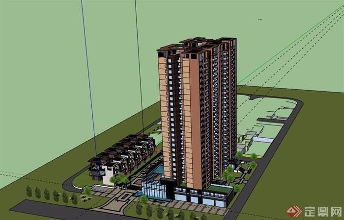 某住宅小区洋房及高层住宅楼设计su模型