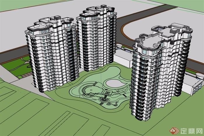 某三栋住宅小区建筑楼设计su模型