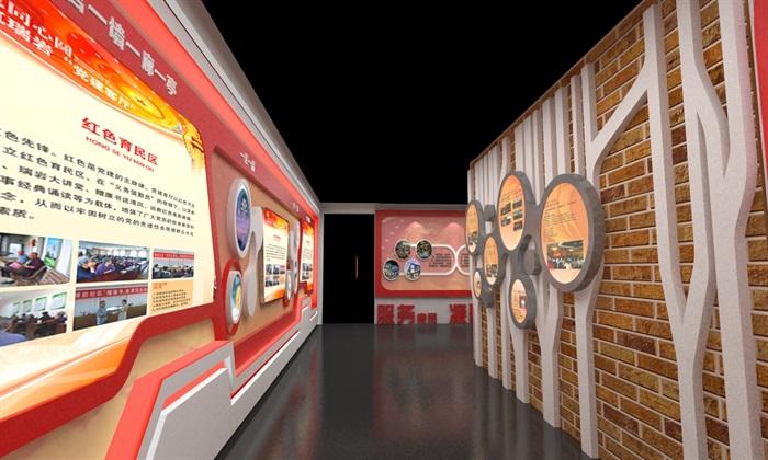 社区、党建宣传展厅3D模型及效果图(11)