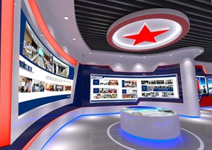 公安、派出所、军队荣誉展厅3D模型及效果图