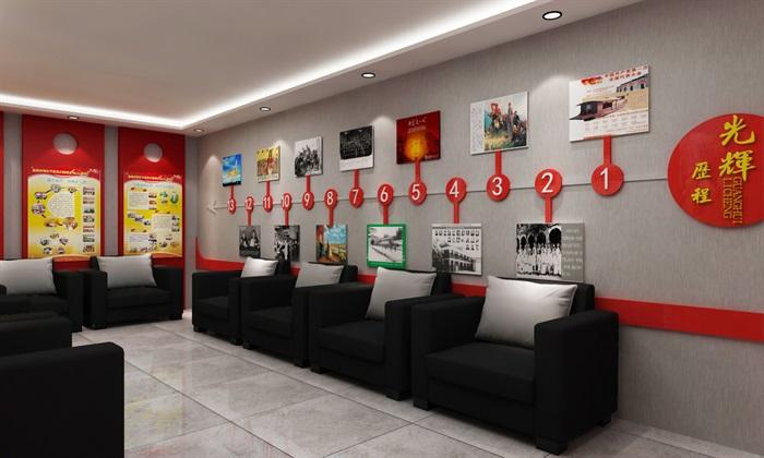 黨群、黨建活動辦公室、會議室設計3D模型及效果圖(1)