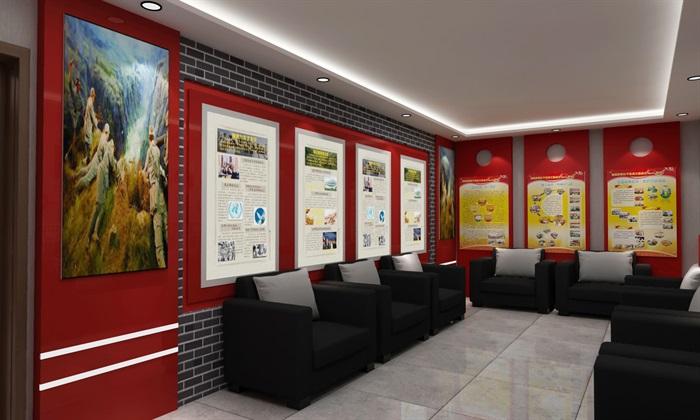 党群、党建活动办公室、会议室设计3D模型及效果图(7)