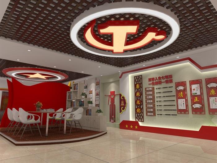 社区党建中心展厅设计3D模型及效果图(4)