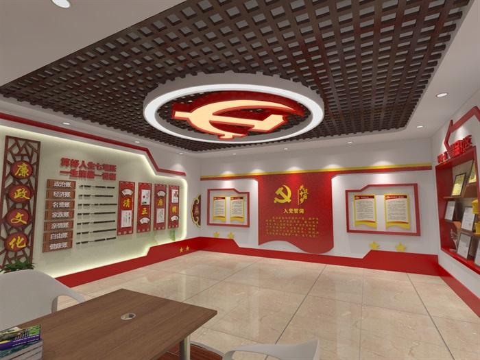 社区党建中心展厅设计3D模型及效果图(6)