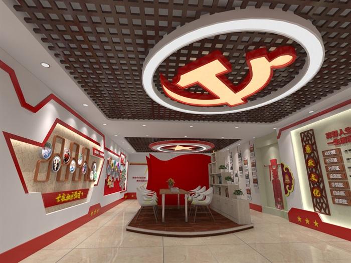 社区党建中心展厅设计3D模型及效果图(7)
