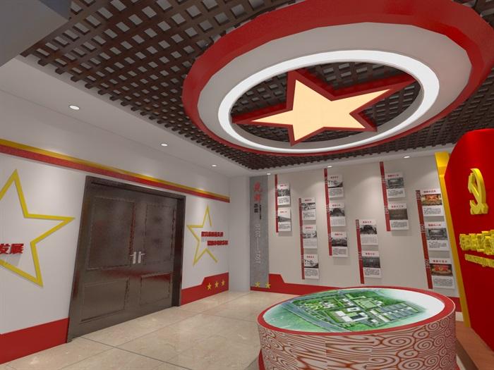 社区党建中心展厅设计3D模型及效果图(8)