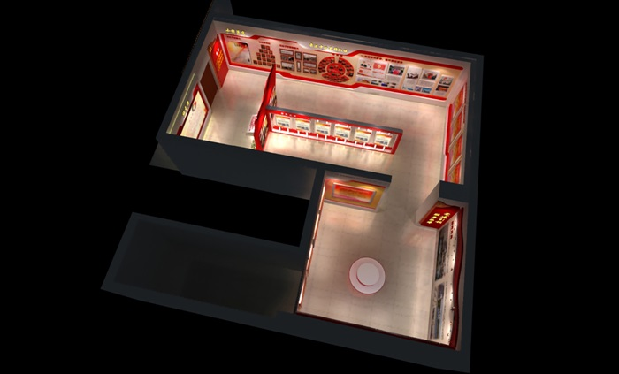 党建文化中心展厅教育全套设计3D及CAD效果图文件(1)