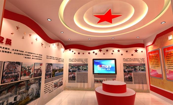 党建文化中心展厅教育全套设计3D及CAD效果图文件(11)