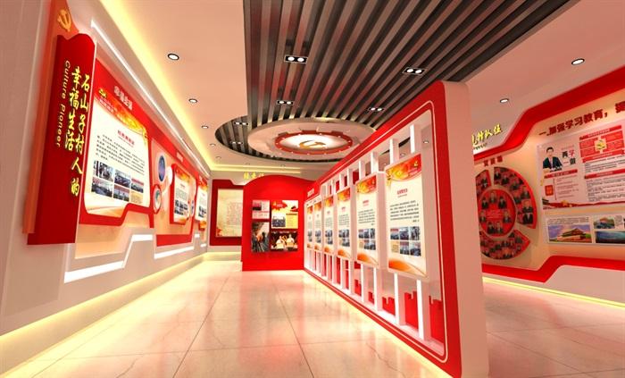 党建文化中心展厅教育全套设计3D及CAD效果图文件(13)