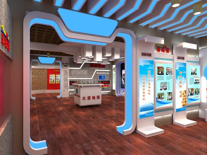 地税、税务局文化展厅3D模型及效果图(2)