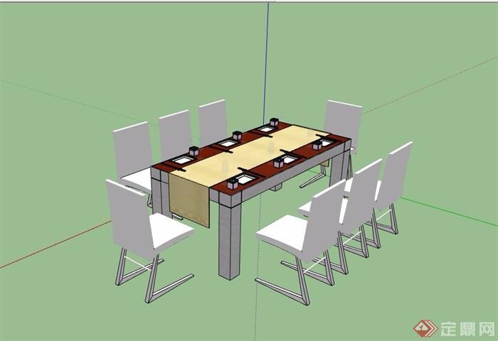 现代餐桌椅详细素材设计su模型