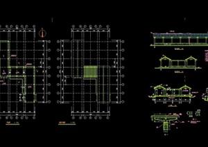 古典中式详细亭廊素材设计cad施工图