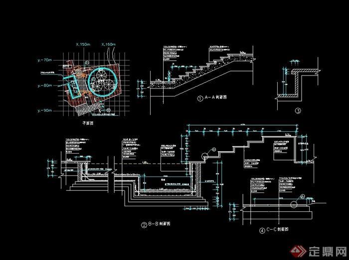 某详细水帘亭子设计cad施工图