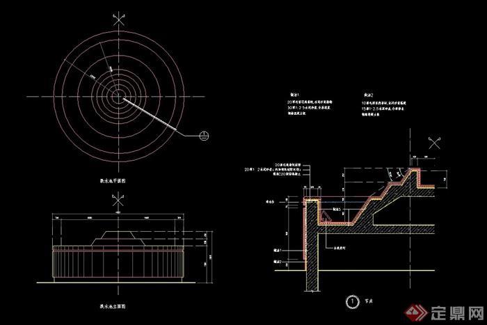 圆形详细的跌水池景观设计cad施工图,图纸包含了详细的材料及尺寸标注