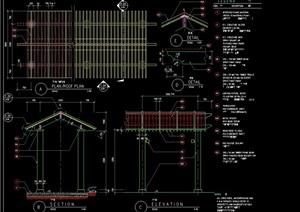亭廊素材设计cad施工图