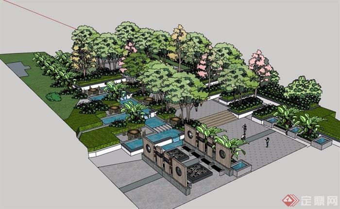 某现代风格详细的游园景观su模型