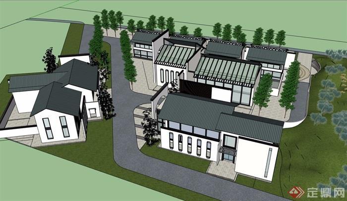 中式风格详细多层民居住宅楼设计su模型