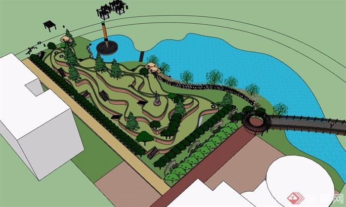 现代风格滨水小公园su模型