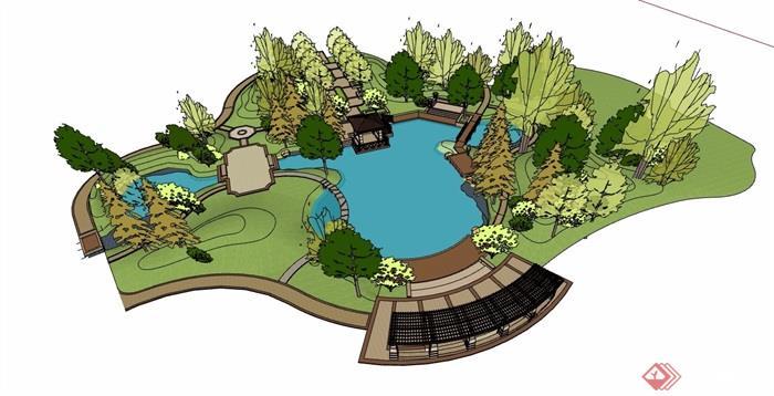 新古典游园局部景观设计su模型