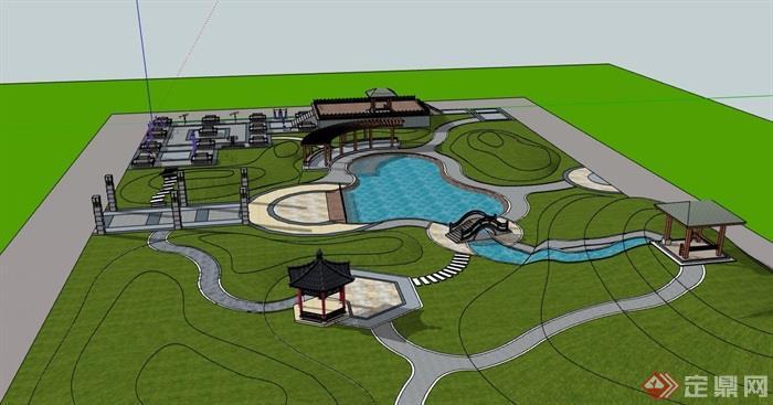 小游园体育公园景观设计su模型