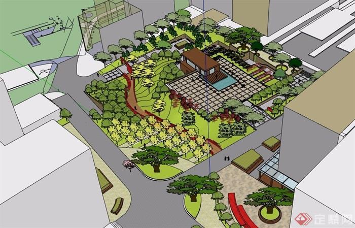小型广场设计su模型