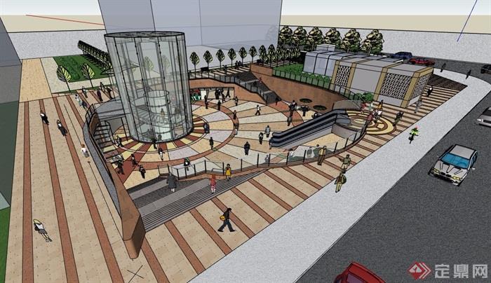下沉商业广场详细景观设计su模型
