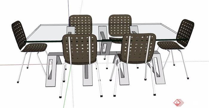现代风格玻璃桌会议桌椅设计su模型
