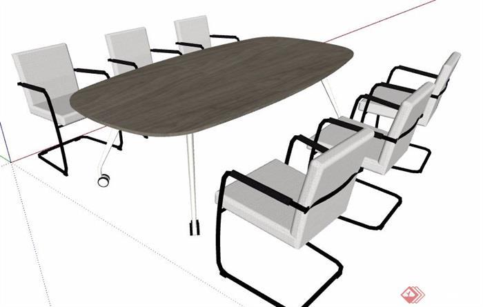 现代风格六人座会议桌椅组合素材su模型