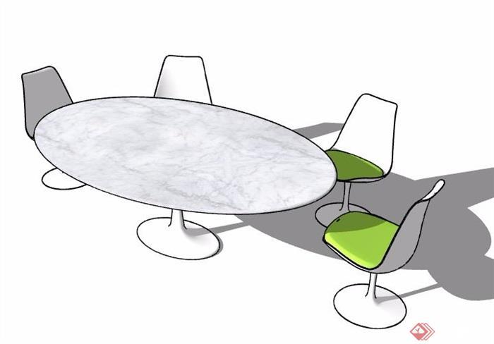 椭圆形大理石会议桌椅su模型