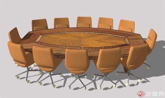 现代风格木制会议桌桌椅组合素材su模型