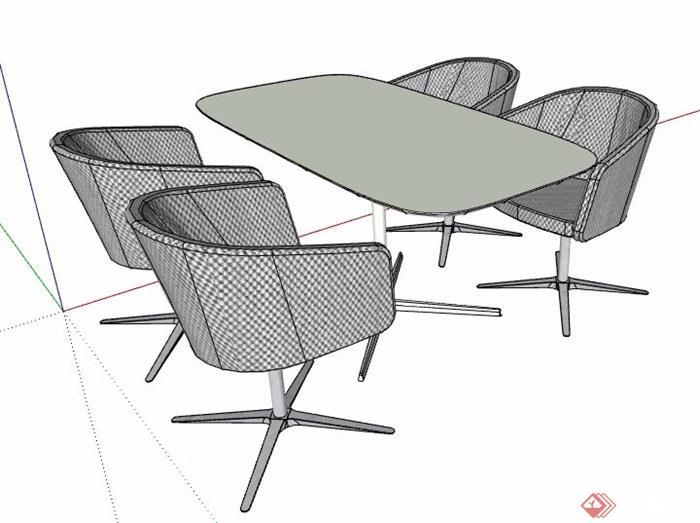 简约四人座洽谈桌椅组合su模型