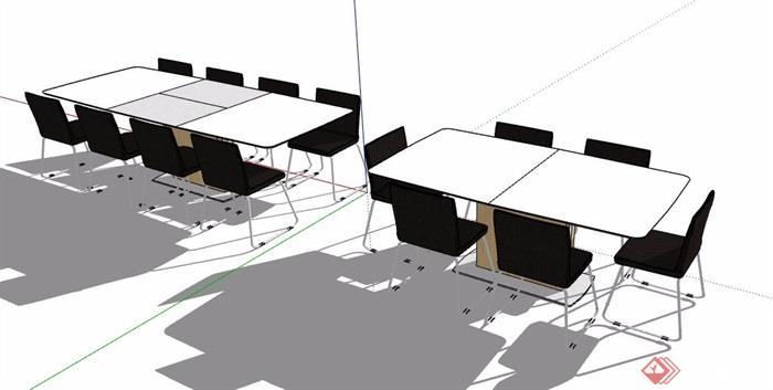 现代风格两组会议桌椅组合素材su模型
