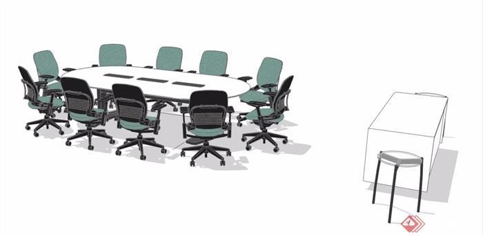 现代风格十人座会议桌椅组合su模型