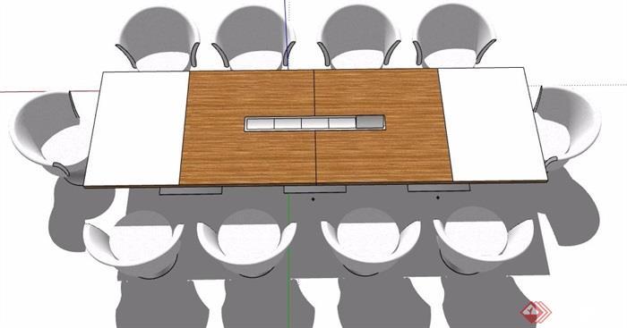 现代风格十人座长形会议桌椅组合su模型