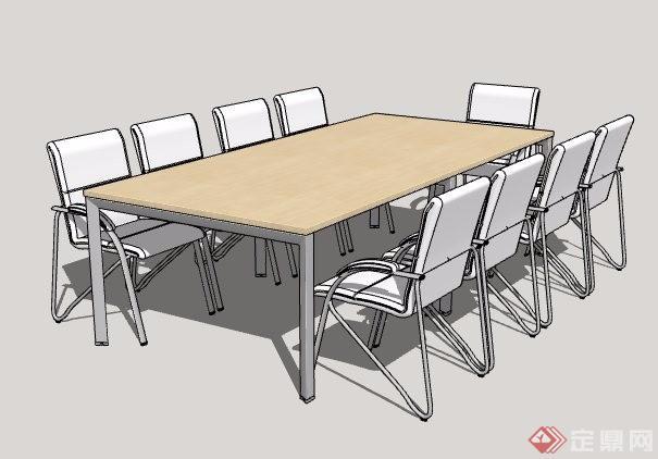 现代风格商务空间会议桌椅su模型