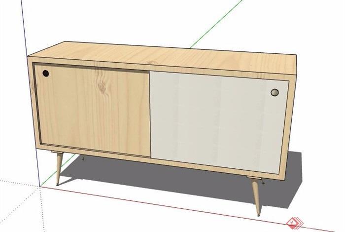 现代原木风边柜素材su模型