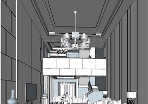 现代中式复式大厅中空模型