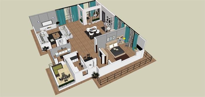 室内一楼家装设计模型II(1)