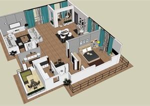 现代简约北欧室内一楼家装设计模型