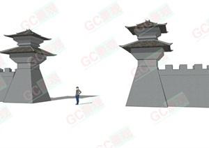 SU(草图大师)模型城门 柱堆 景观柱 形象雕塑 标志物 阙