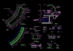园林景观详细的廊架及亭子组合设计SU(草图大师)模型